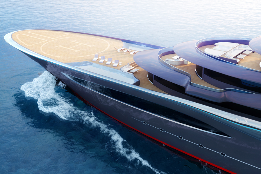 115m Storebreaker Superyacht helipad in view deck