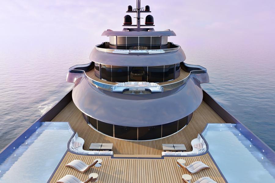 115m Storebreaker Superyacht top deck view