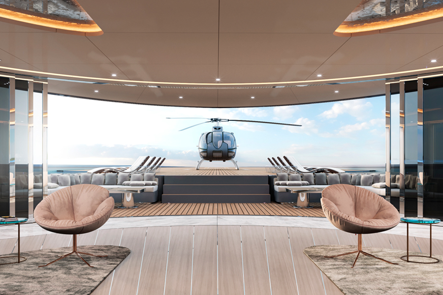 115m Storebreaker Superyacht with private helicopter