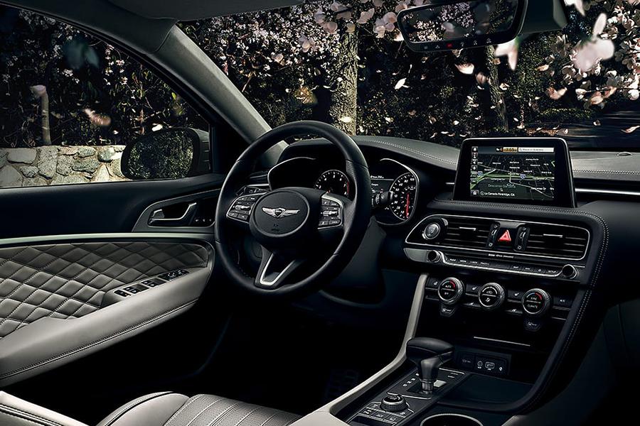 2020 Genesis G70 steering wheel and dashboard