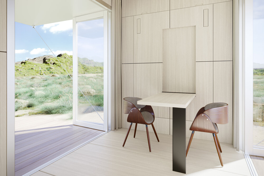 Buhaus Container Homes dining table with chair