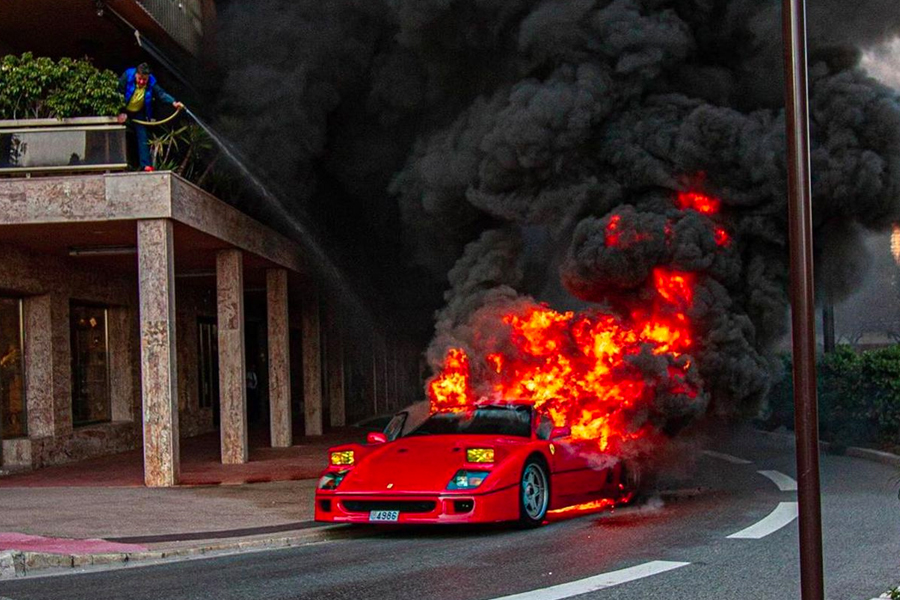 This Video of a Ferrari F40 on Fire in Monaco Will Make You Wanna Cry
