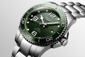 Closeup of Longines HydroConquest watch green dial and bezel