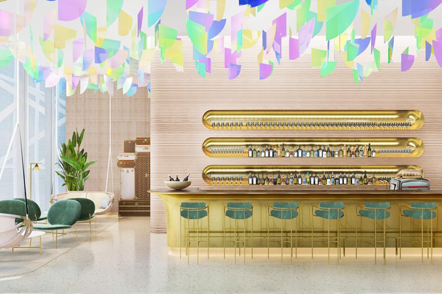 Louis Vuitton restaurant bar area