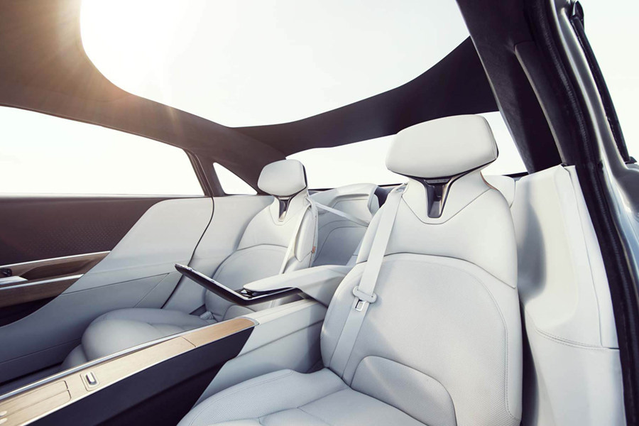 Lucid Air tesla electric car white color upholstery car seat