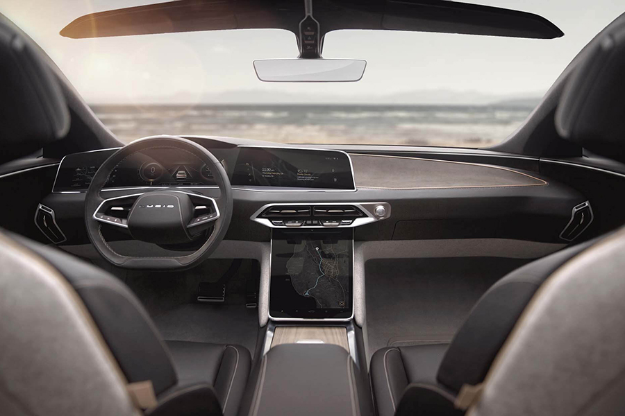 Lucid Air tesla electric car dashboard and steering wheel