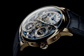 Closeup of the dial ofMB&F Legacy Machine Perpetual