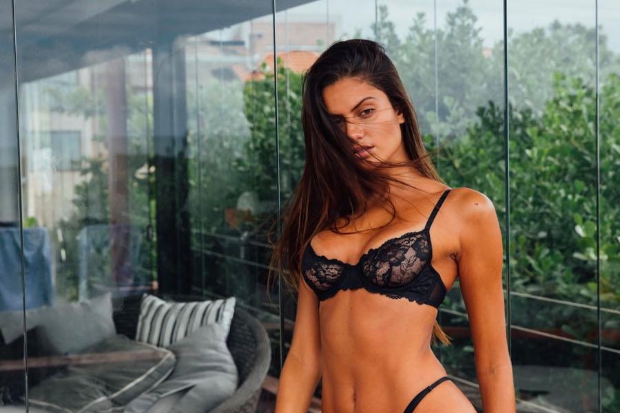 Milena Scheller for C-Heads in black lingerie