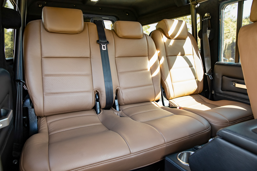 project galena car seat at the back of custom defender