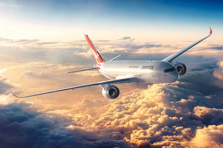 qantas airline flew in the sky