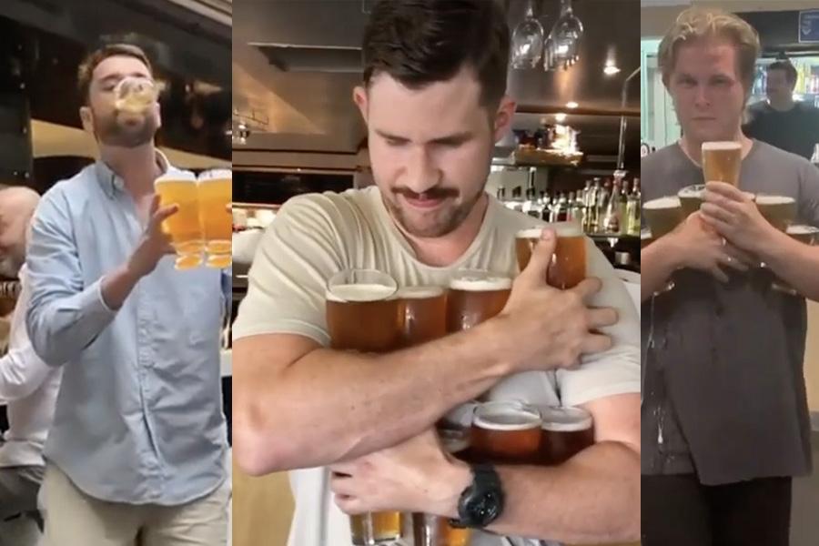 @schoonercarrys holding multiple beer glasses in three Instagram posts