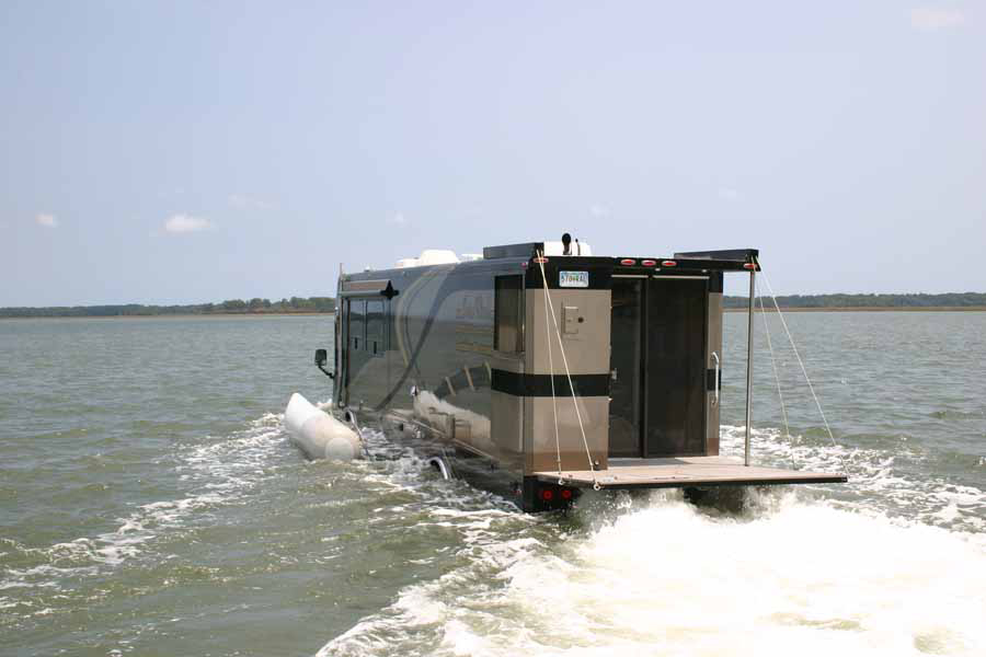 amphibious rv traveling on the water