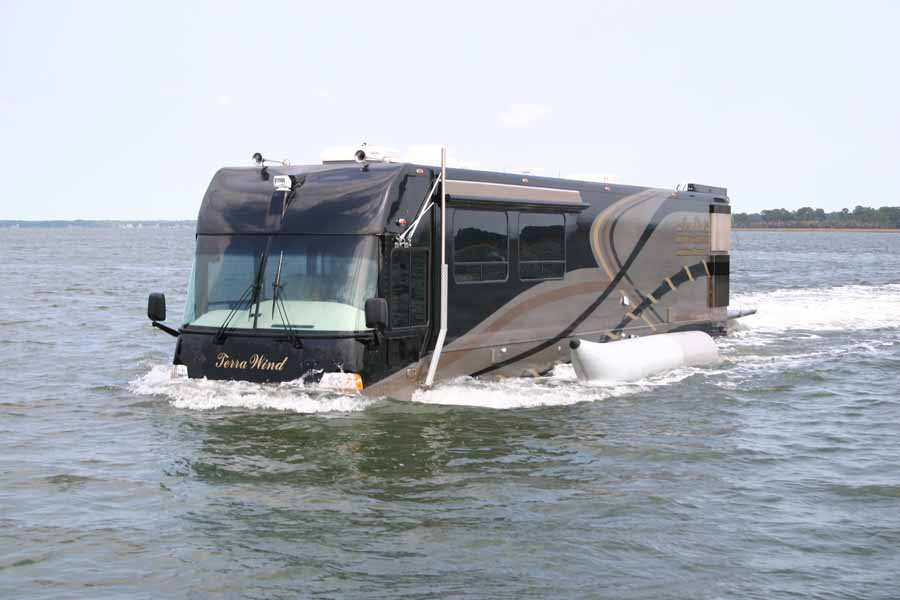 amphibious rv driving into the water
