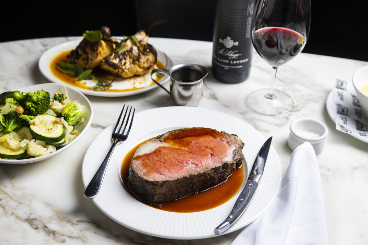 A Prime Rib on a table