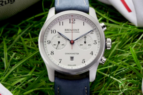 White dial of a Bremont Chronometer