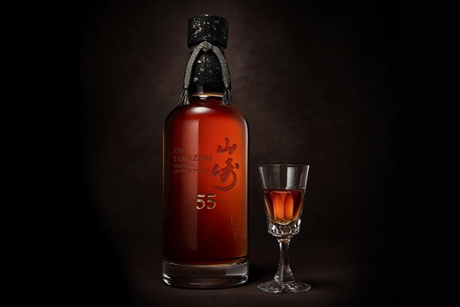 Yamazaki 55 Year Old bottle with glass