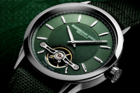 Closeup of the dial ofGreen Raymond Weil Freelancer Calibre RW1212 watch