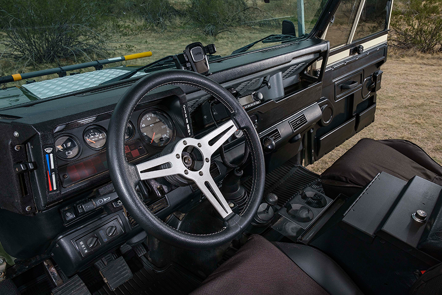 1984 Land Rover 110 Dormobile steering wheel and dashboard