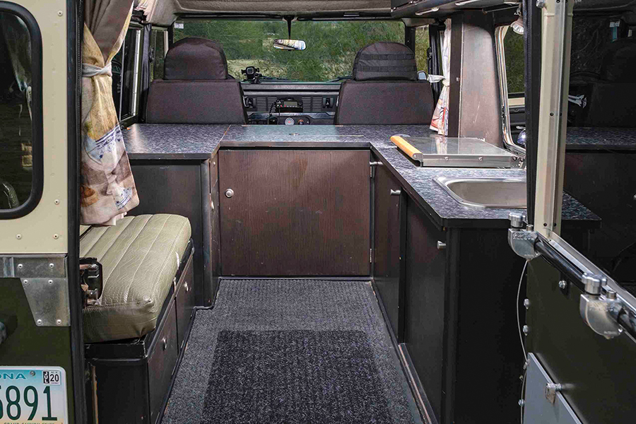 1984 Land Rover 110 Dormobile Overlanding inside view of the vehicle