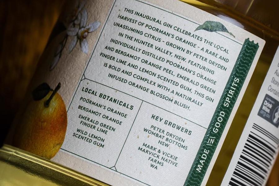 Archie Rose back label gin
