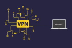 A graphic showing Anonymity through VPN