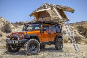 Smittybilt Overlander tent on Jeep Wrangler roof