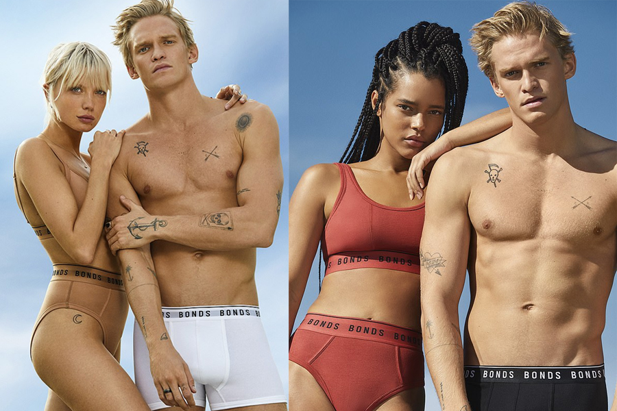 Male and female models in Bonds underwears