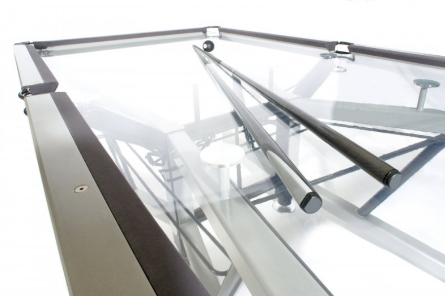glass pool table and cues
