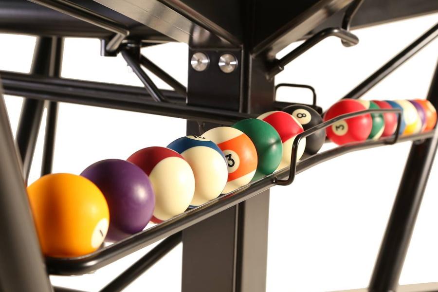 pool balls under table