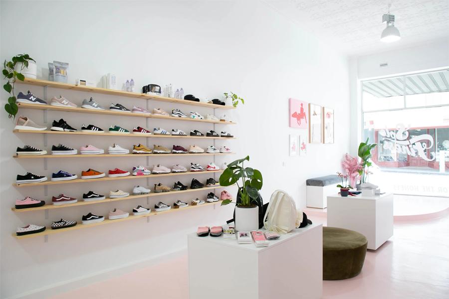 Interior of a sneaker shop