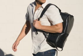 A model with Parker Clay Atlas Backpack