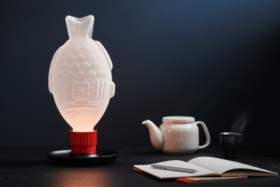 Light Soy Glass Lamp on a table