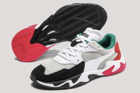 Sole and side of pair ofPuma Storm Adrenaline sneakers