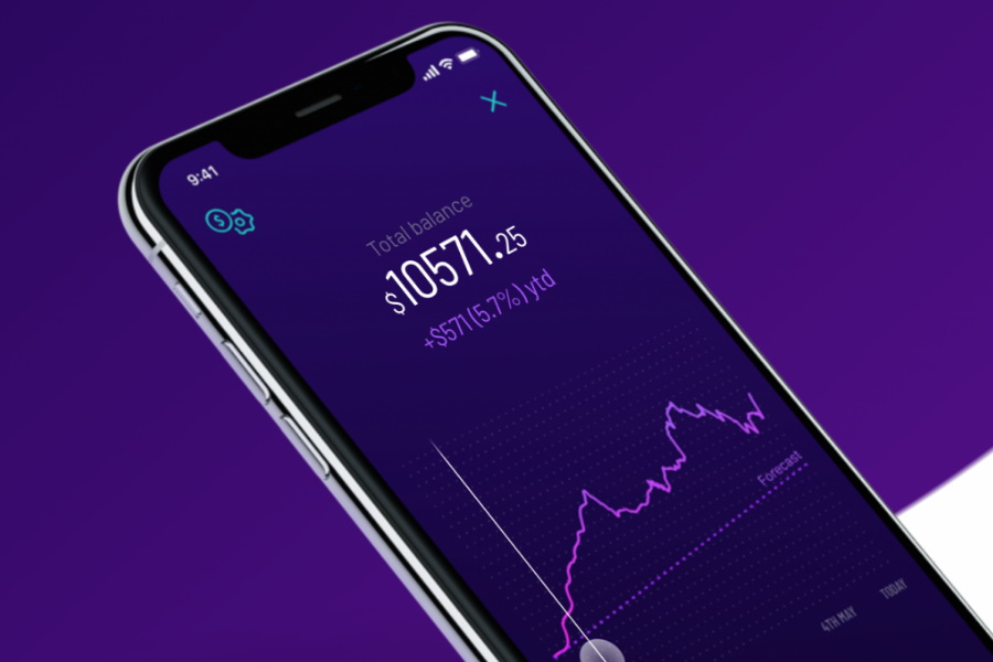 A phone with Spaceship Voyager Investment app open