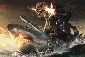 A humanoid robot riding a T-Rex riding a huge shark