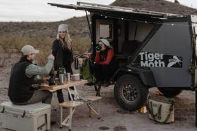 Tiger Moth Camper meal outside