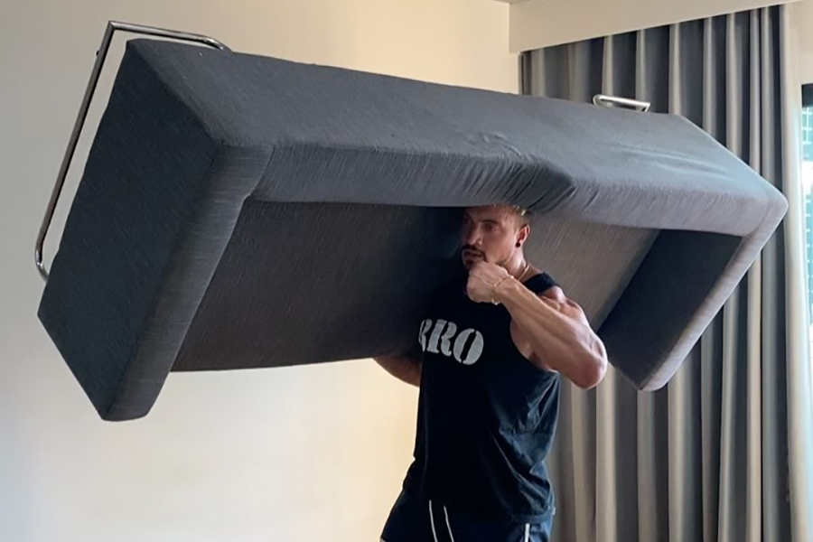 lifting a couch indoor exercise