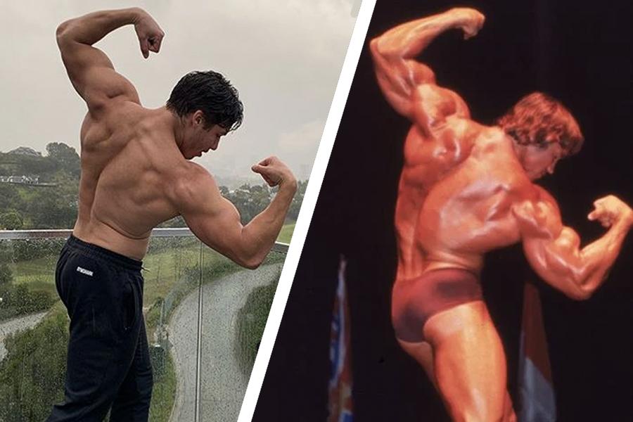 Arnold Schwarzenegger and son's photos flexing their back and biceps