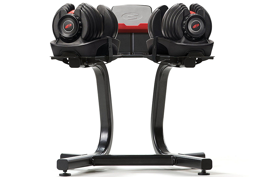 Bowflex Adjustable Weights front view in stand