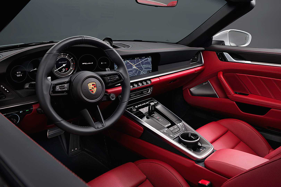 Brand-New Porsche 911 Turbo S steering wheel and dashboard