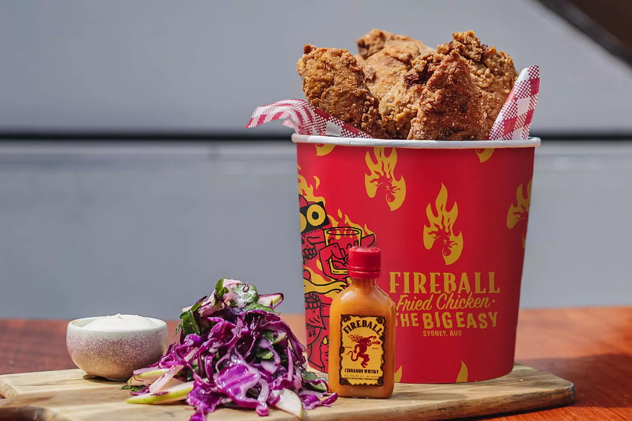 Fireball Chicken Bucket on a table