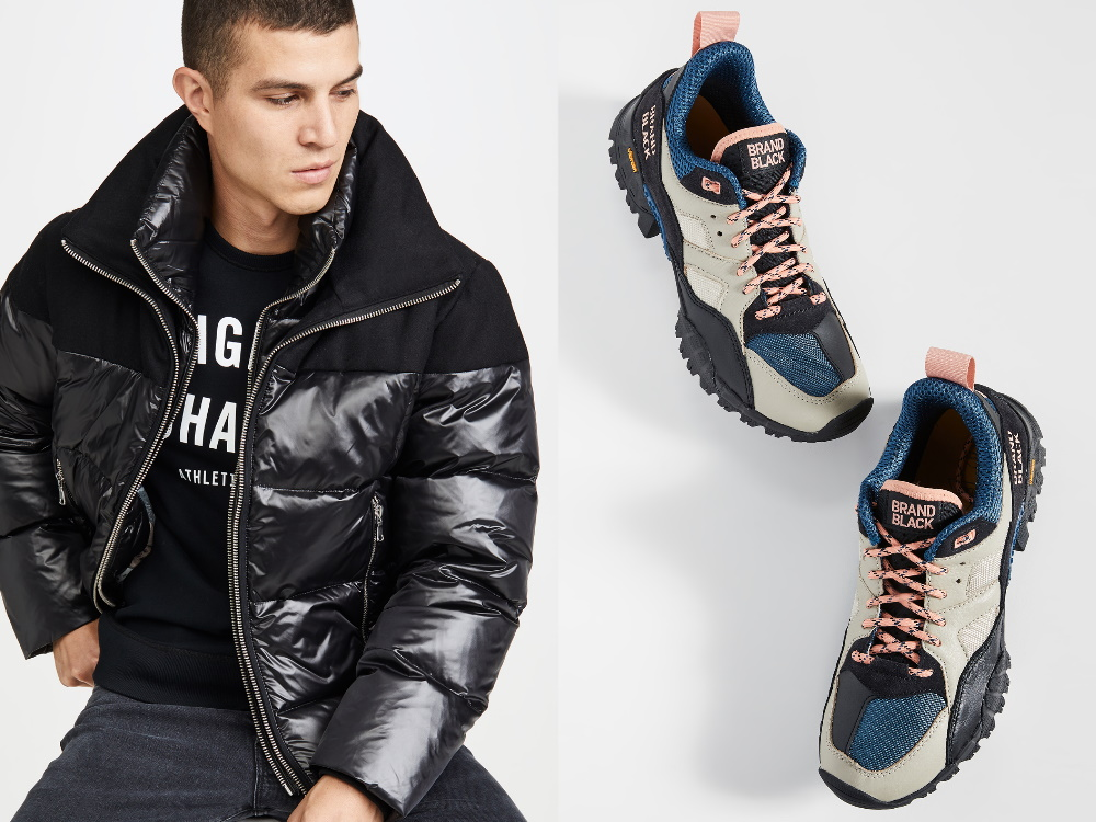 A pair of Brand Black shoes and a model in a black rubber puffer jacket