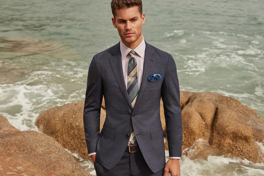 A model in an MJ Bale suit