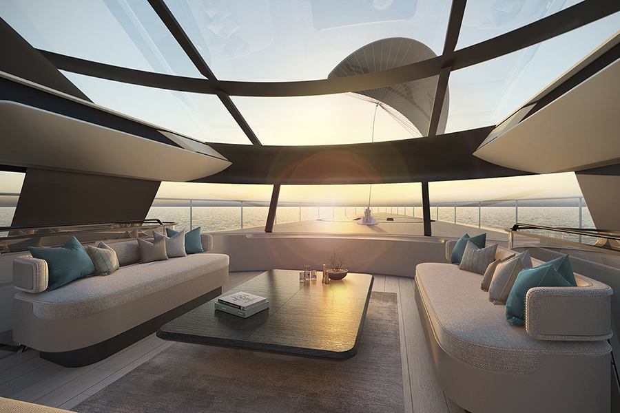 Red Yacht Design Ice Kite Superyacht lounge