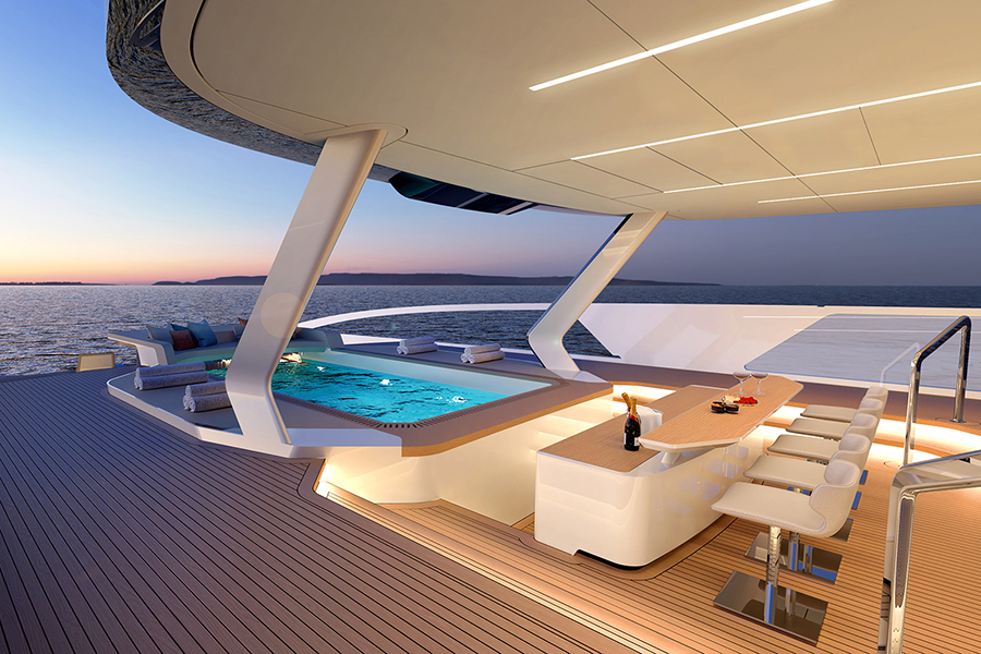 Red Yacht Design Ice Kite Superyacht pool side