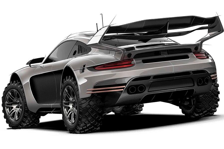 Rugged Porsche 911 Bodykit back view