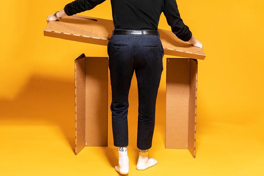 Home Cardboard Desk setting up