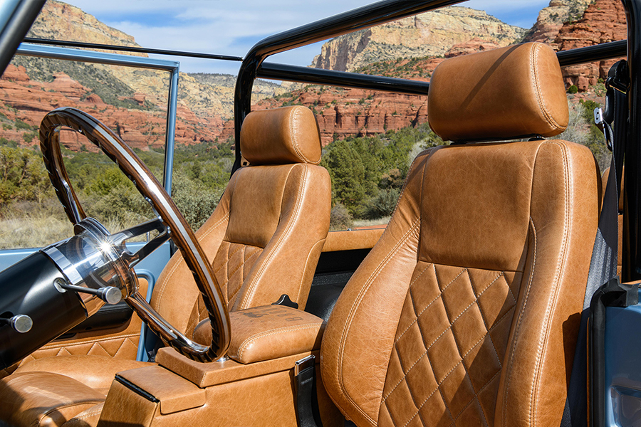 Custom Electric Ford Bronco upholstery design for car seat