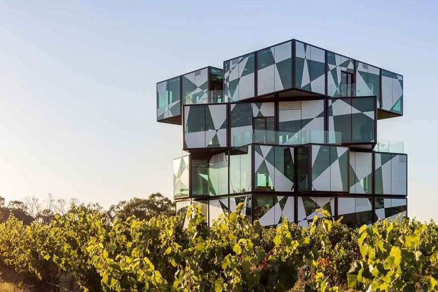 The d'Arenberg cube in middle of vineyard