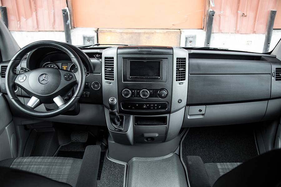 Mercedes-Benz Sprinter Camper Van dashboard and steering wheel